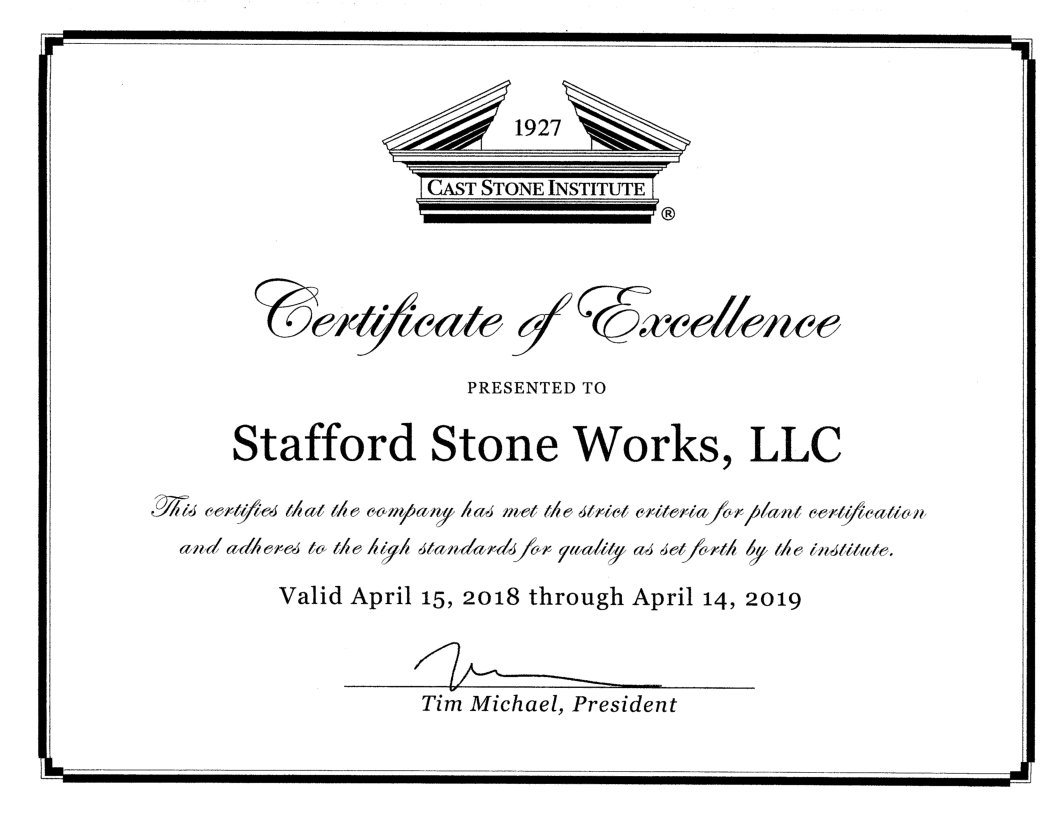 Certificate of Excellence dated April 2018